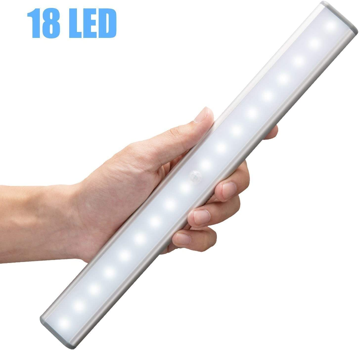 Moston 18 LED USB Recargable magnético Movimiento Sensor Luces nocturnas,oscuridad a amanecer Célula fotoeléctrica incluido Auto en/apagado Portátil Sin cable,palo en cualquier sitio para armario