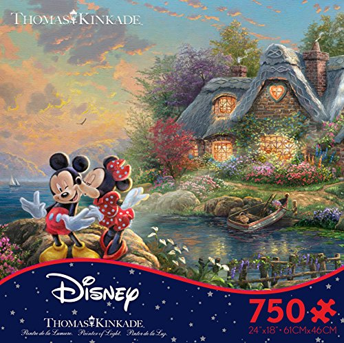 Thomas Kinkade Disney Dreams - Mickey & Minnie 750 Piece Jigsaw Puzzle 24 x 18in