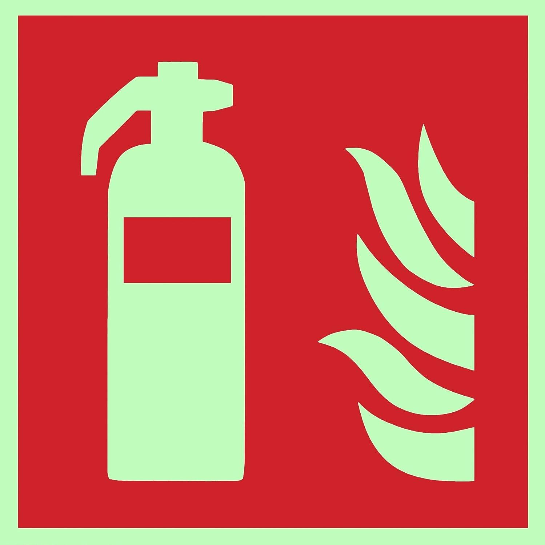 Brandschutzzeichen Symbolschild Feuerlö scher ISO Kunststoffplatte nachleuchtend 150x150mm Andris