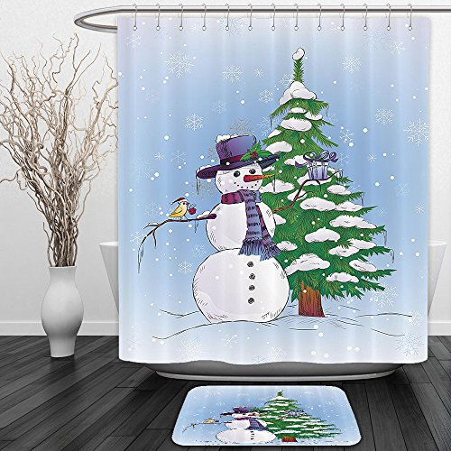 Mini Top Hat With Mistletoe (Vipsung Shower Curtain And Ground MatChristmas Snowman in Winter with Mistletoe Gift Box Top Hat and Scarf Xmas Tree and Bird Blue GreenShower Curtain Set with Bath Mats Rugs)