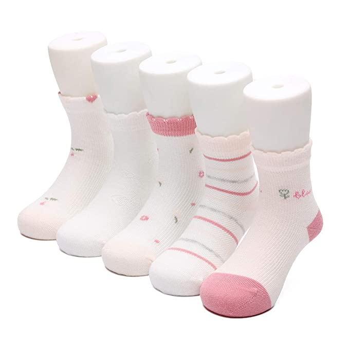30380d9df62da Ultra-Soft Toddler Socks for Girls and Boys, Thin and Lightweight  Ankle-High Cotton Socks for Summer, Pack of 5