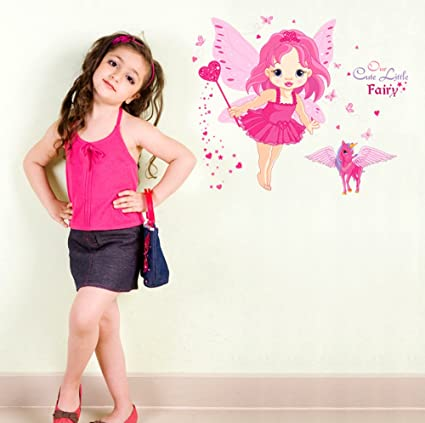 Decals Design Baby Girl Cartoon Cute Princess in Pink with Butterfly Wings and Unicorn Wall Sticker (PVC Vinyl, 60 cm x 45 cm x 1 cm)