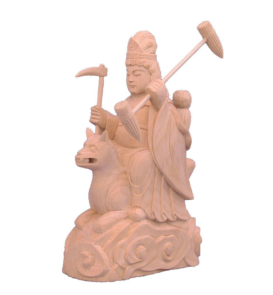 木彫仏像 稲荷大明神 騎狐像 総高15cm 桧木 B078XSQ9WZ