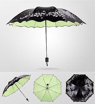 Paraguas Sun Umbrella Anti-Ultravioleta Hembra Verano Sombrilla Sombrilla Negro Caucho Tres Doblar Paraguas Soleado sombrilla (Color : A2): Amazon.es: ...