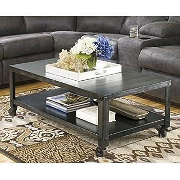 ashley furniture signature design hattney coffee table cocktail height rectangular gray