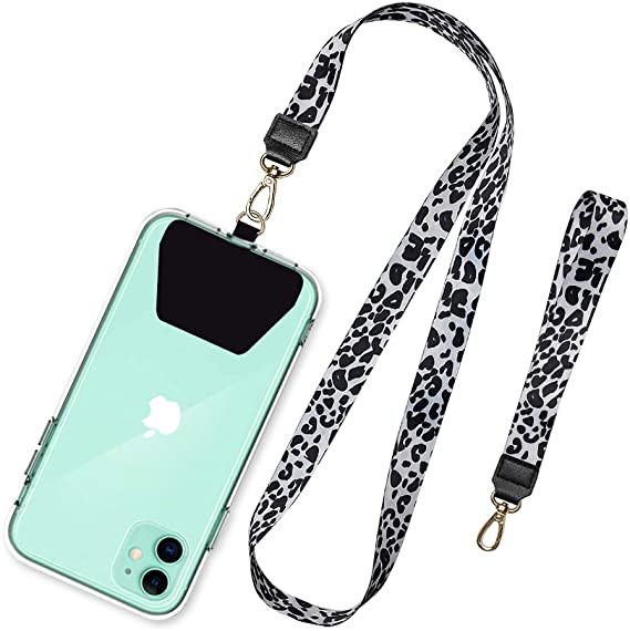 Gray SHANSHUI Cell Phone Lanyard 2 in 1 Detachable Silicone Neck Strap Holder Case with Kickstand Ring Protector for iPhone Samsung Galaxy and Most Smartphone