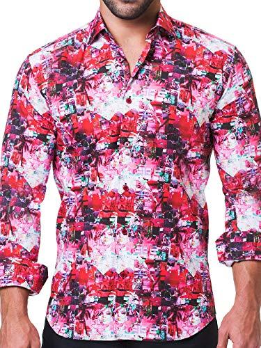 Maceoo Mens Designer Dress Shirt - Stylish & Trendy - Fibonacci Lifetime Red - Tailored Fit (Collar Shirt Dress Italian Cotton)
