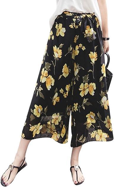 Verano Pantalones Para Mujer Moda Cintura Alta Casual Pantalon De Chifon Con Cintura Elastica Elegantes Patron Floral Boho Anchos Pierna Pantalones S Xl Amazon Es Ropa Y Accesorios
