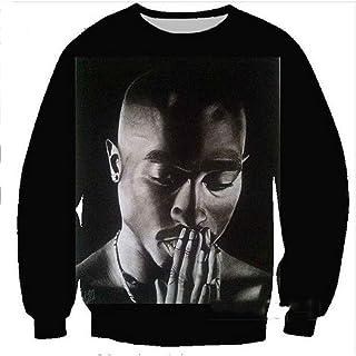 MOIMK 2Pac Tupac Felpa Rap Hip Hop 3D Stampa Pullover Hip Hop T-Shirt Tee Top