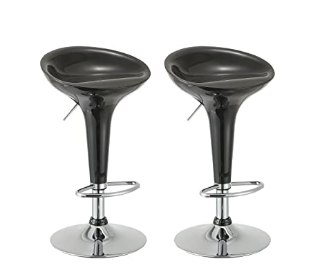 Duhome Elegant Lifestyle Bar Stool Set of 2 Gloss Adjustable Swivel Bar Chair with ABS Plastic Seat Black