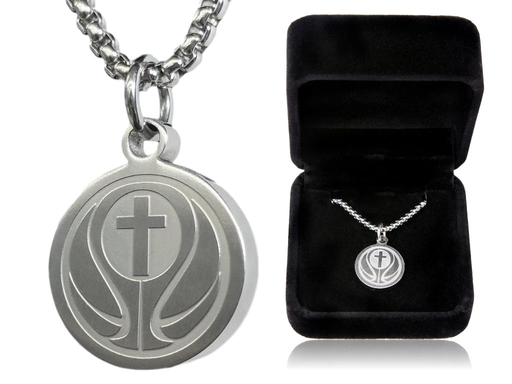Basketball Cross Necklace by Pendant Sports. Presented in Black Velvet Box. Crafted in Stainless Steel. Inspiring Luke 1:37 Bible Verse on Back. Many Sports Available.