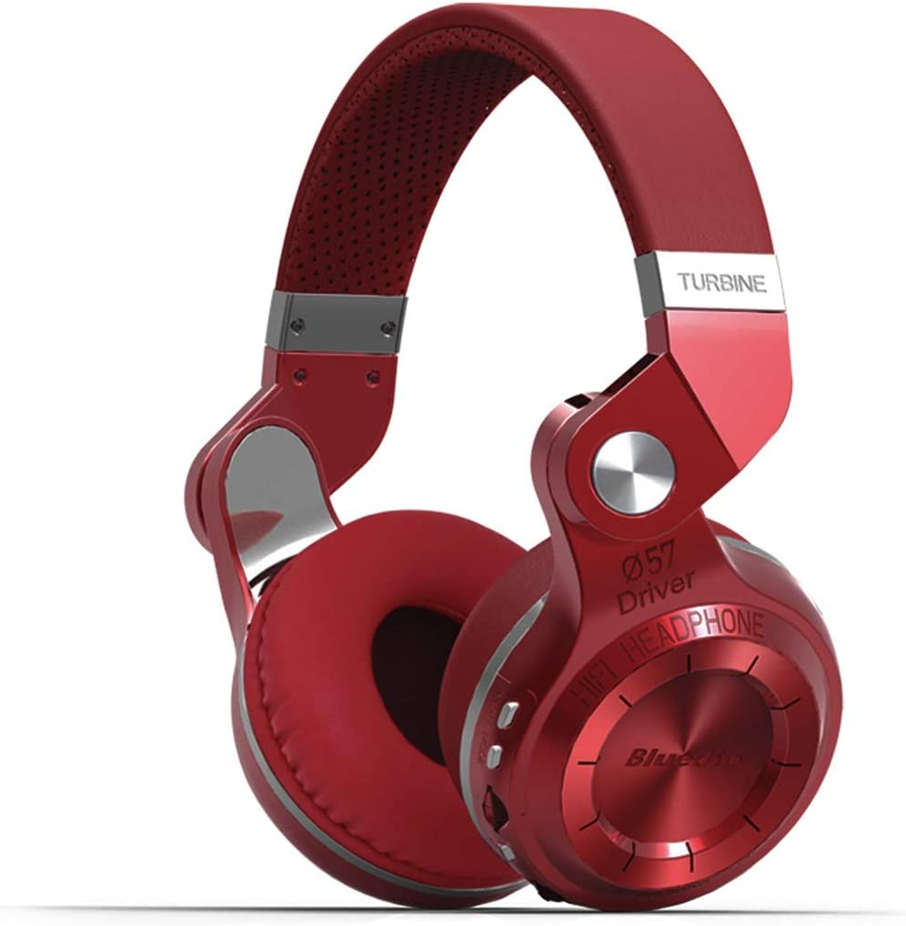 Bluedio T2 Plus Turbine Wireless Bluetooth Headphones with Mic/Micro SD Card Slot/FM Radio (Red)