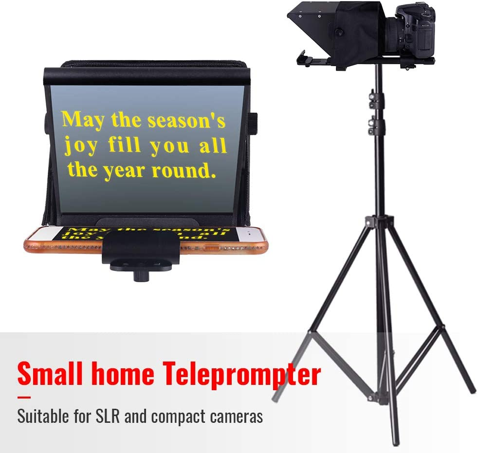 Niome Mini Teleprompter DSLR Video Teleprompter w//Carry Case Adjustable Smartphone Teleprompter Beam Splitter for Home Interview Shooting