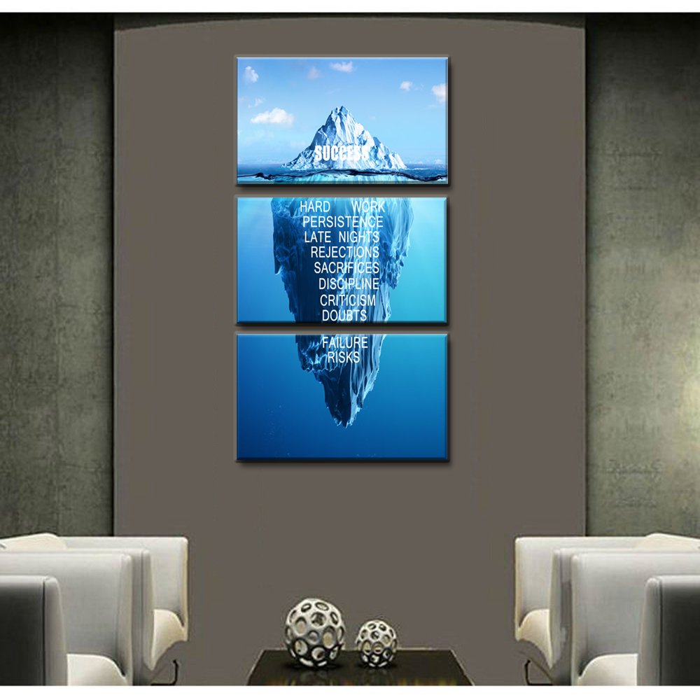 Success Inspiration Themed Wall Art Motivation Iceberg Canvas Print Hard Work Persistence Late Nights Quote Artwork Painting Print on Canvas 3 Sets Frame Poster for Home and Office Decoration (A)