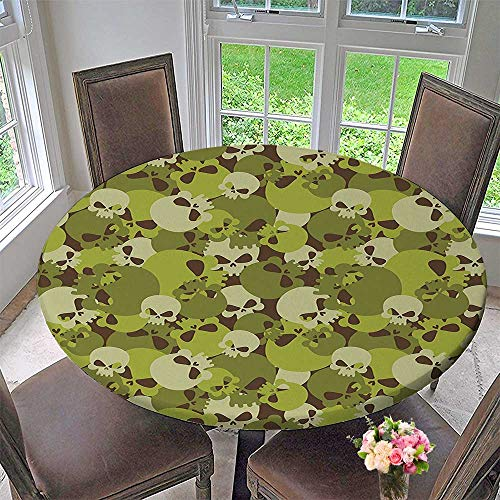 Mikihome Modern Table Cloth Composition of Skulls Scary Head Skeletons Siers Green Light Green Indoor or Outdoor Parties 50
