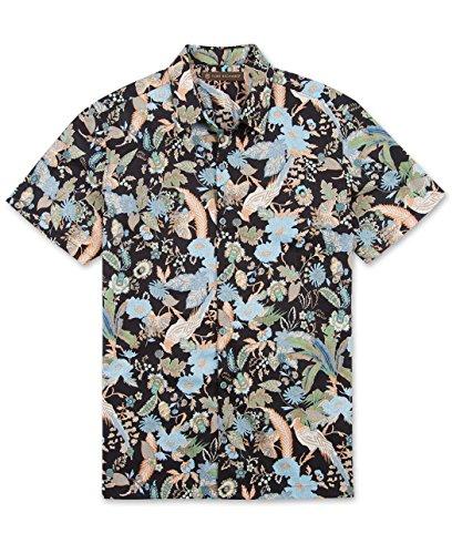 Tori Richard Big and Tall Flocked Hawaiian Shirt (Black 5X)