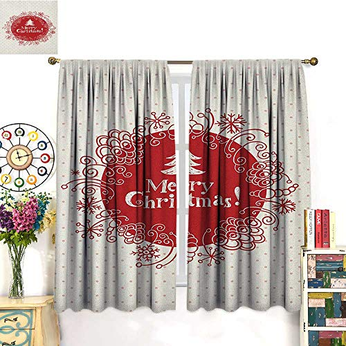 Red Coral Long Drill - ChristmasSolid Rod Pocket short Blackout DrapesMerry Christmas Greeting Design with Sketchy Tree Swirled Doodles FrameBlackout Curtain Panels Window Draperies Rod Pocket White Red Coral. W72