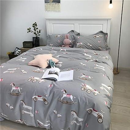 MKXI Hobbyhorse Bedding for Queen Bed Light Gray Kids Duvet Cover Children  Bedroom Set Toys Print Boys Girls Bedding Sets Reversible