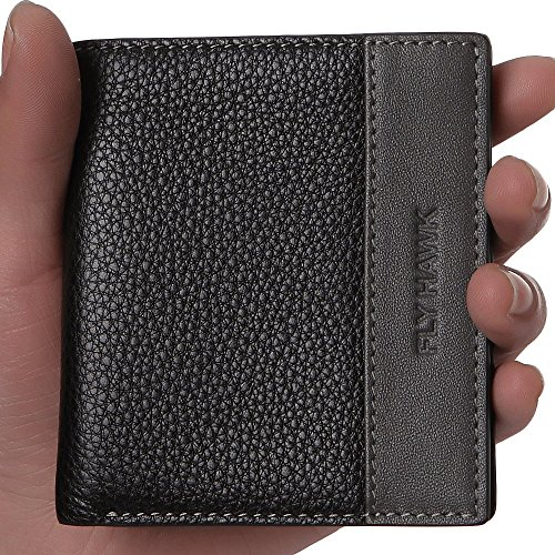 FlyHawk Top Leather Wallets, Front Pockets Wallets and Cowhide Bifold Wallets Black Wallets Vertical Style