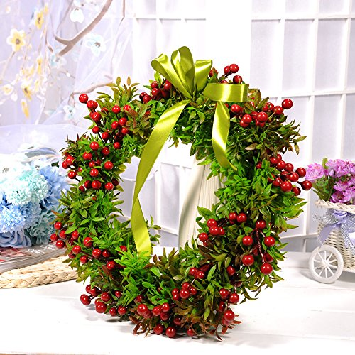 WALLER PAA Artificial Rose Flowers Garland Spring Plant Wreath Door Craft Home Decor (Spring Door Wreaths Sale)