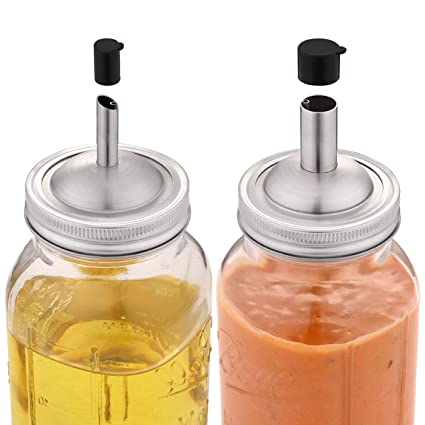 ba8353b98733 Aozita Mason Jar lids Pour Spout with Caps for olive oil dispenser and  Salad Dressing Shaker - 18/8 Stianless Steel Pour lids for Ball and More