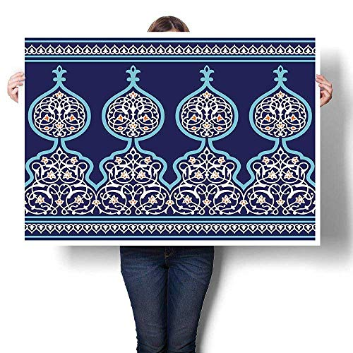 Wall Art Oil Paintings Bohemian Style Ancient Middle Eastern Turkish Figures Mystical Image Print Living Room Home Office Decorations Teal Royal Blue 36