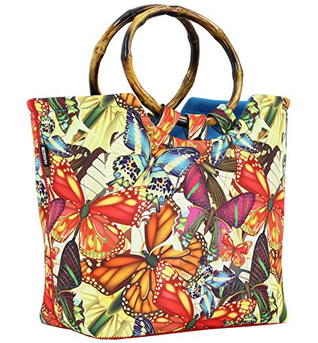 Lunch Bag Tote Bag by QOGiR - Large Reusable Insulated Neoprene lunch Bag with Inside Pocket (Butterfly)