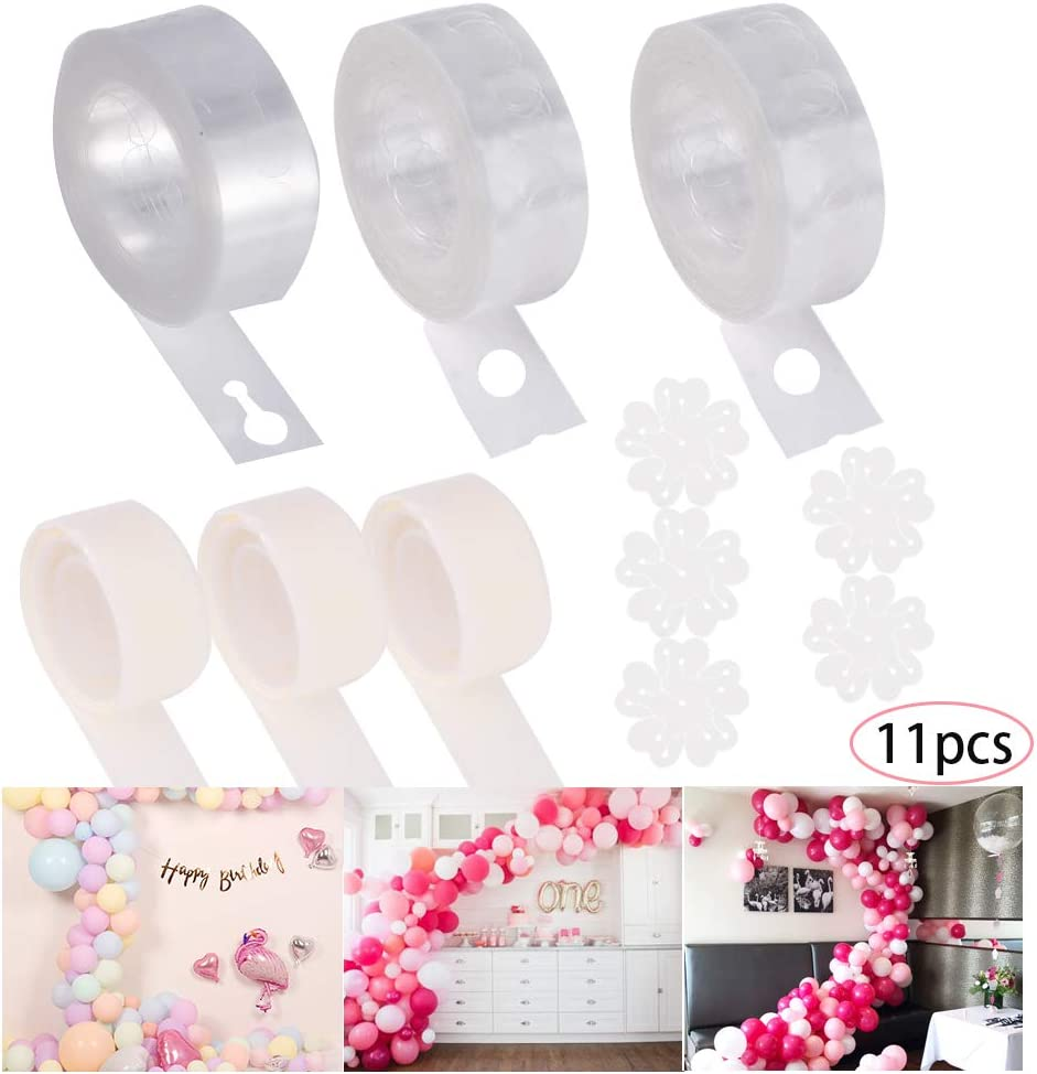 Yumi V Balloon Decorating Strip Kit for Arch Garland 3rolls 16 Feet Balloon Tape Strips and 3rolls 100 Balloon Glue Dots Stickers with 5pcs Balloons Flower Clip for DIY Balloon Arch Garland Bunt