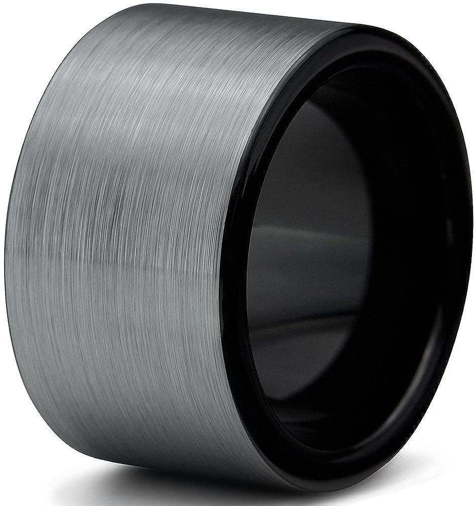 Tungsten Wedding Band Ring 12mm for Men Women Comfort Fit Black Enamel Pipe Cut Brushed Charming Jewelers CJCDN-360-B