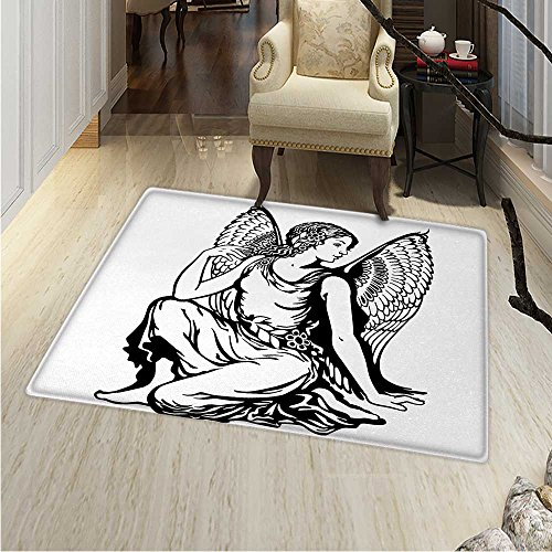 (Zodiac Virgo Area Rug Carpet Young Woman Artistic Figure Angel Wings Monochrome Tattoo Art Design Living Dining Room Bedroom Hallway Office Carpet 3'x5' Black White)