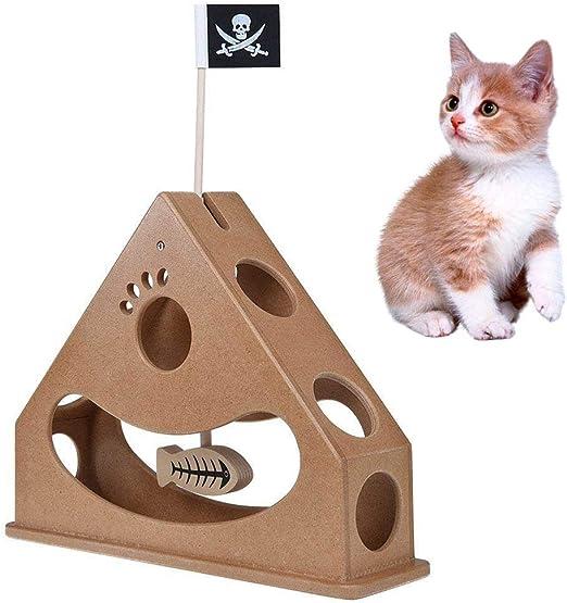 kekai Caja de Juguetes para Gatos de Madera, Divertido Juguete Interactivo para Gatos con Peces y Bandera Pirata colgados, Divertidos Juguetes de Estilo de péndulo: Estructura de triángulo/comederos: Amazon.es: Productos para mascotas