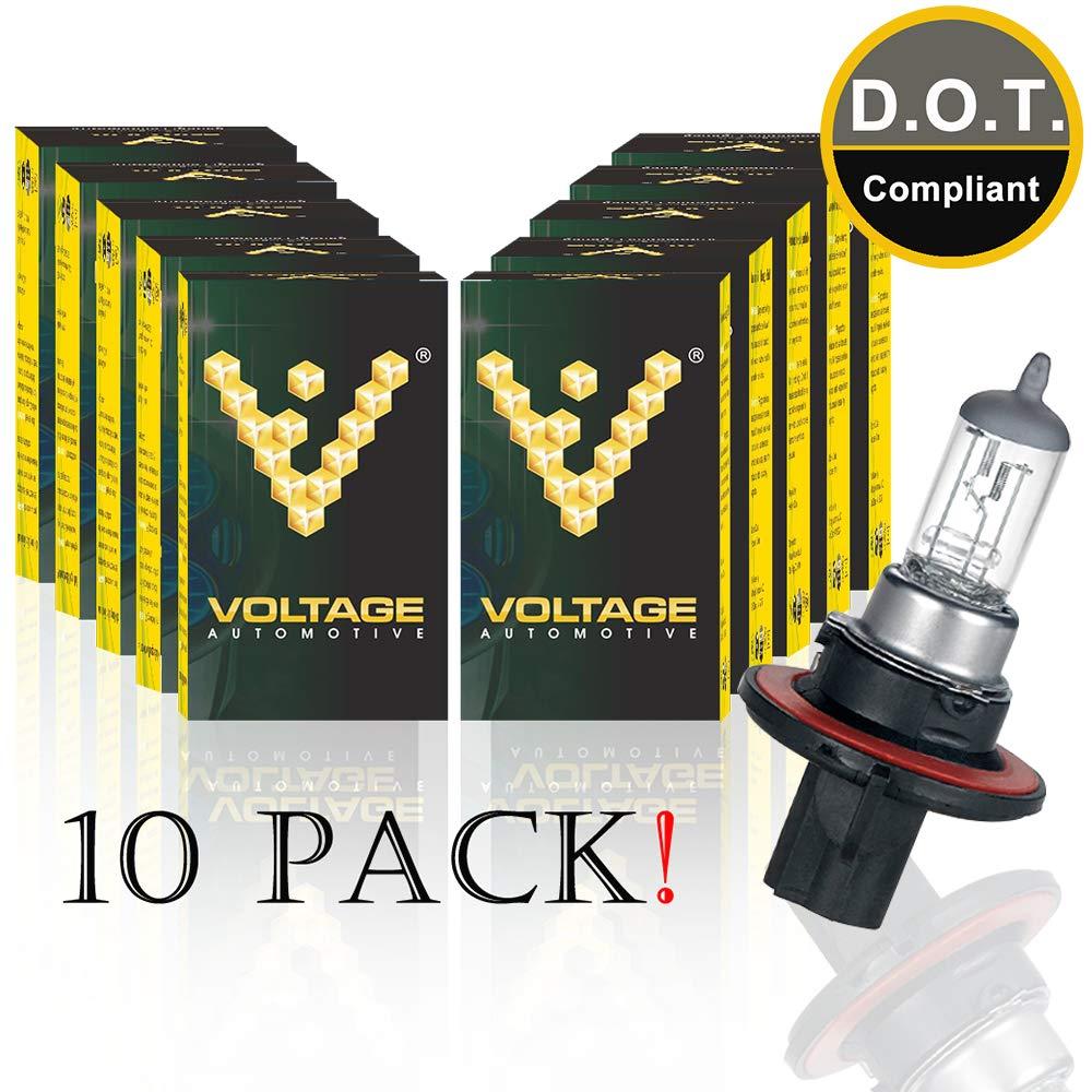 Voltage Automotive H13 9008 Standard Headlight Bulb (10 Pack) - OEM Replacement Halogen High Beam Low Beam Fog Lights