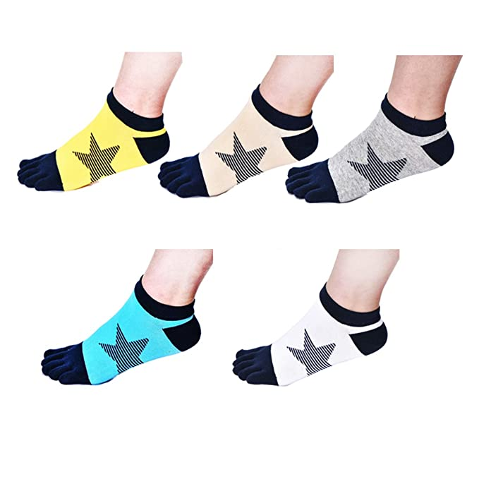 1c9a976cc4768 seven wolves 5 Pairs Five Finger Toe Socks, No show Crew Athletic Running  Socks for Men and Women