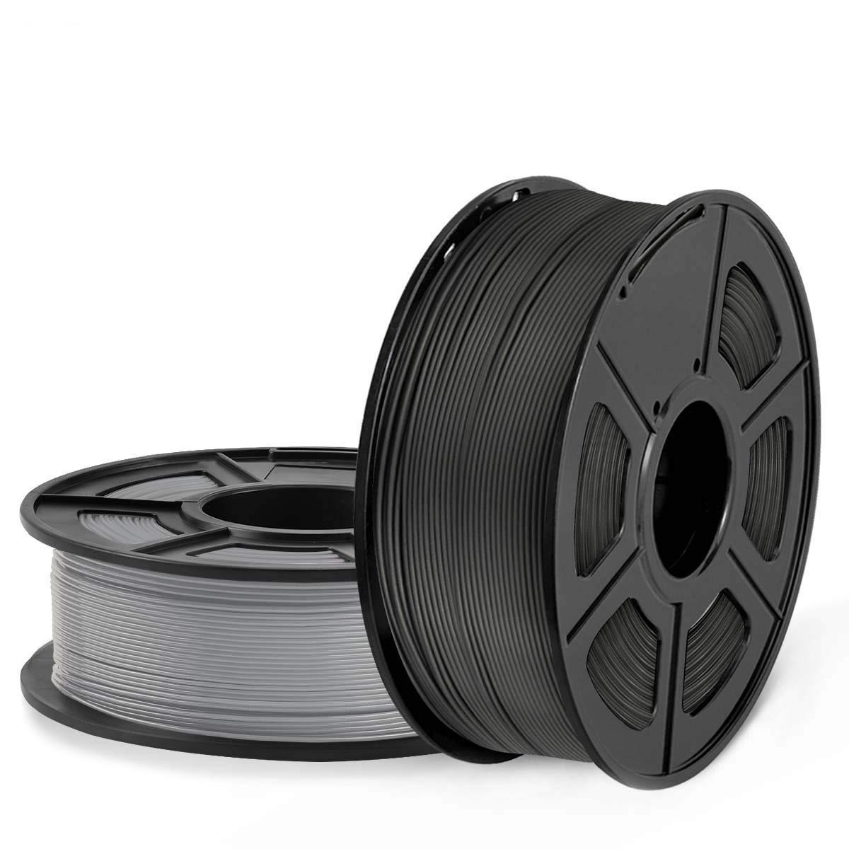 SUNLU Filamento PLA 1.75mm 2kg Impresora 3D Filamento, Precisión Dimensional +/- 0.02 mm, PLA Negro + Gris