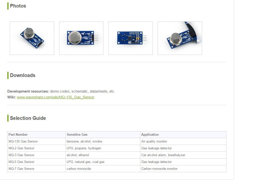 Amazon.com: Waveshare MQ135 MQ-135 Smoke Gas Sensor Module Alcohol Gas Detection Module Smoke Gas Detector for Arduino: Computers & Accessories