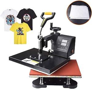 "Power Heat Press Machine 12"" X 10"" Professional Swing Away Heat Transfer with 2 Teflon Sheet Digital Sublimation 360 Degree Rotation for T Shirt"