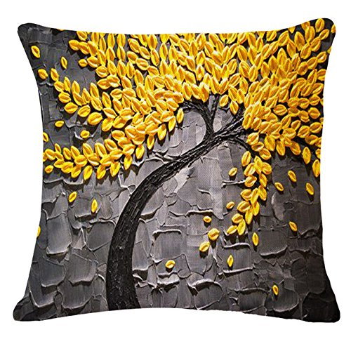QINU KEONU Oil Painting Black Large Tree and Flower Birds Cotton Linen Throw Pillow Case Cushion Cover Home Sofa Decorative 18 X 18 Inch (Yellow Leaves) (Gray And Pillows Yellow)