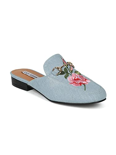 79c847d2b6f Alrisco Women Rose Embroidered Horsebit Slip On Mule - IA17 by Cape Robbin  Collection - Denim