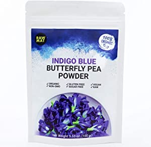 RAWMAT Organic Butterfly Pea Powder, Superfood Extract, Natural Food Colouring for Baking, Anti-Aging, Rich Antioxidants, Coloured Play, Vegan Diet, Non-GMO, 25 Serving (3.53 Ounce)