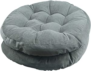 Solid Papasan Patio Seat Cushion Round Chair Pad Home Floor Cushion 22 Inch Set of 2 Throw Pillows Indoor/Outdoor Grey