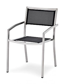 Rumina Empilable Belardo Noir Revêtement Chaise Avec Textilène 1JcTlK3F