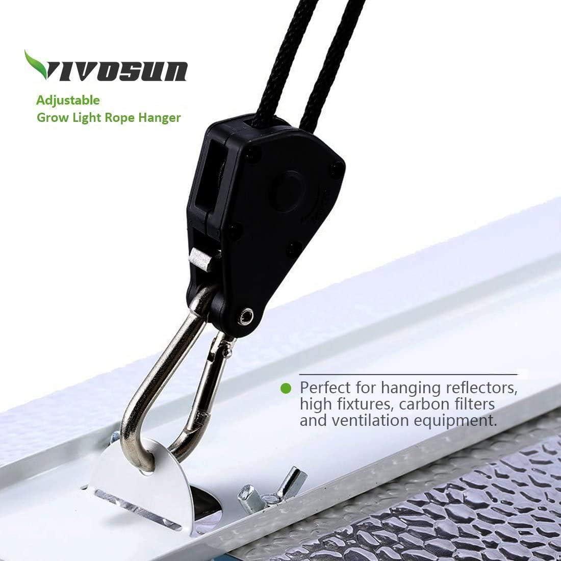 VIVOSUN 1//8 Adjustable Grow Light Reflector Clip Rope Hanger 6 Pair