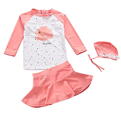 b91f51edb7 TAIYCYXGAN UV Sun Protective Baby Girls 2pc Swimsuit Long Sleeve Rash  Guards Bathing Suit Ruffle Swimdress UPF 50+