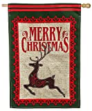 Evergreen Merry Christmas Deer Burlap House Flag, 28 x 44 inches For Sale