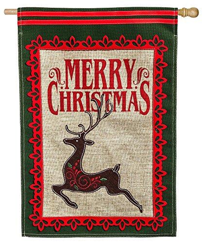Evergreen Merry Christmas Deer Burlap House Flag, 28 x 44 inches