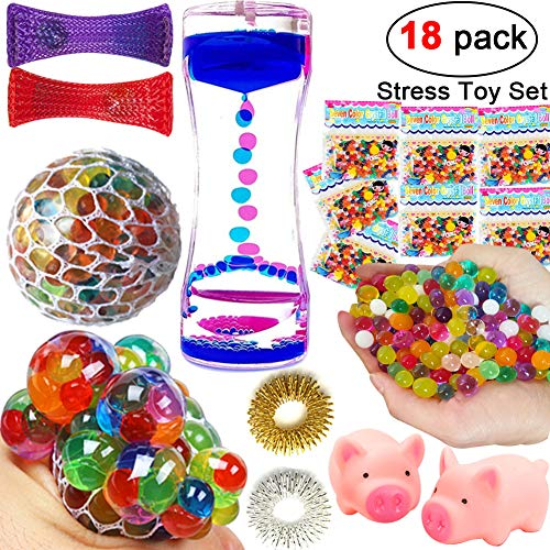 18 Pack Sensory Fidget Toys Set for Adult Kids Fidget Stress Relief Toys Mesh Grape Stress Ball Liquid Timer Water Beads Squeeze Sound Toy Gift for ADHD ADD Anxiety Autism Party Favor Supplies Game by Randosk