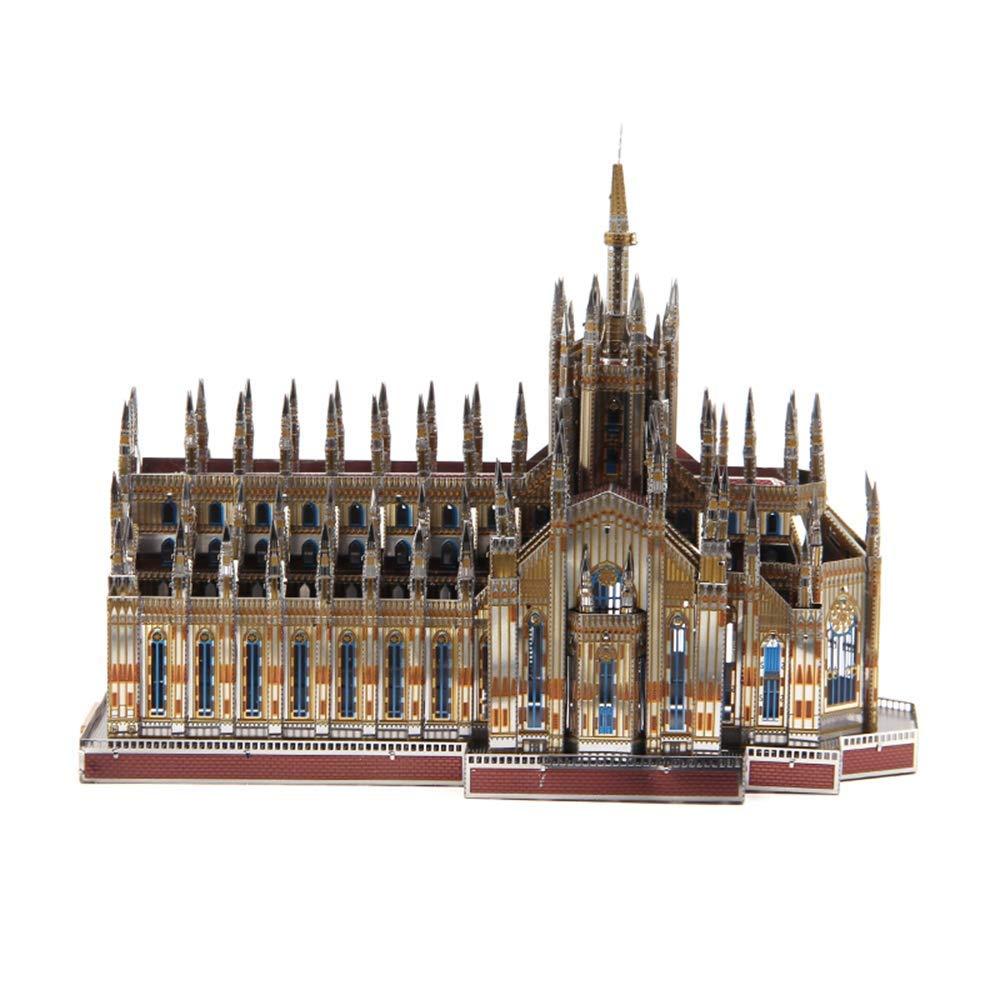 Metal-Puzzle, Home Decoration 3D DIY Assemble Erwachsene Modellbau, Kits Laser Cut Puzzle Toy Farbe Milan Kathedrale 19.8  14.8  10.7 CM