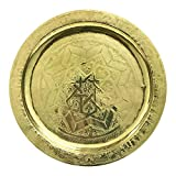 Hand Engraved Moroccan Small Golden Tray Wall Decor