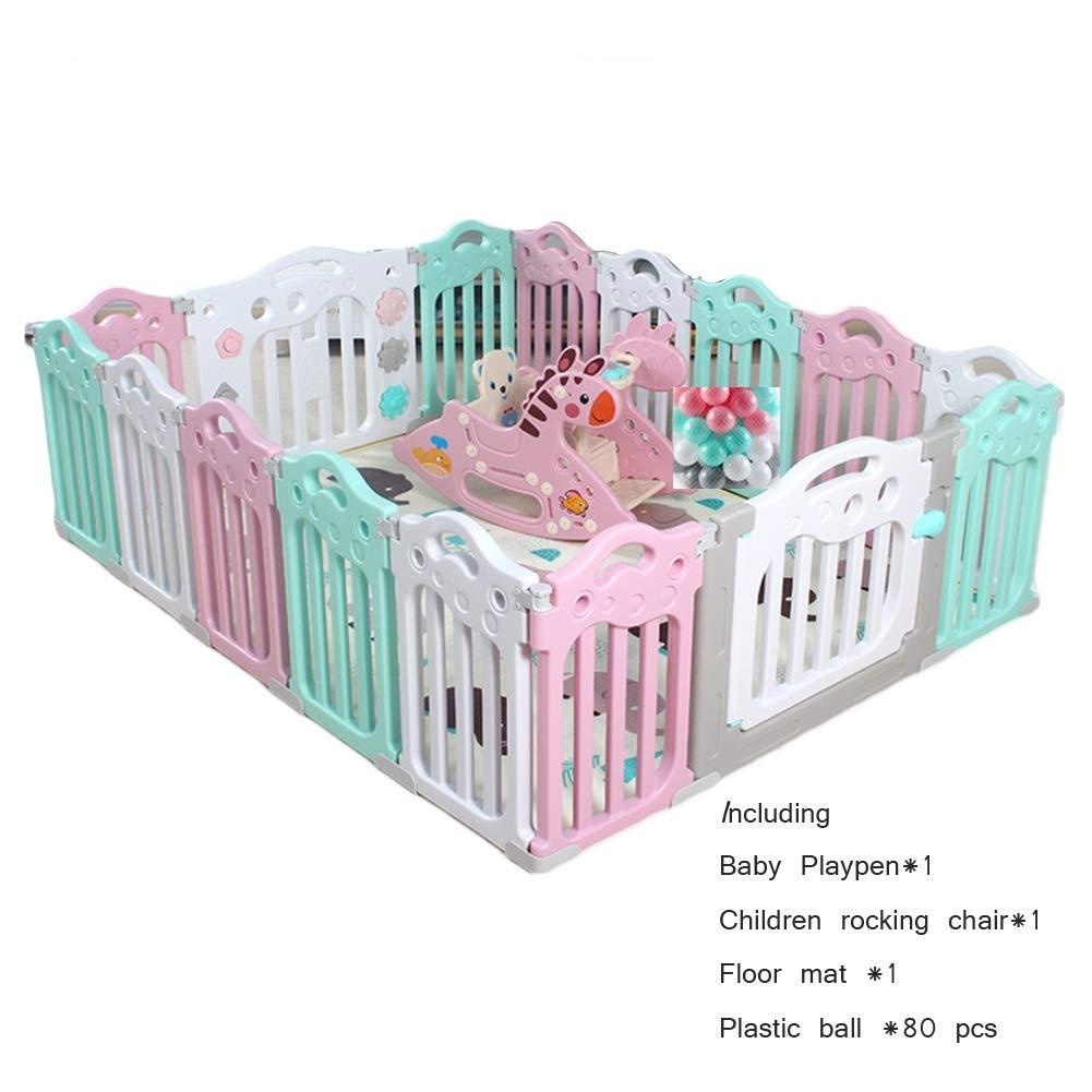 LIANGJUN 育児 ベビーサークル子 幼児 遊び場 安全性 保護 プラスチック パネル クロールマット ロッキングチェア - マルチカラー (色 : A, サイズ さいず : 188.5X151.5CMX60CM) 188.5X151.5CMX60CM A B07QZPBG54