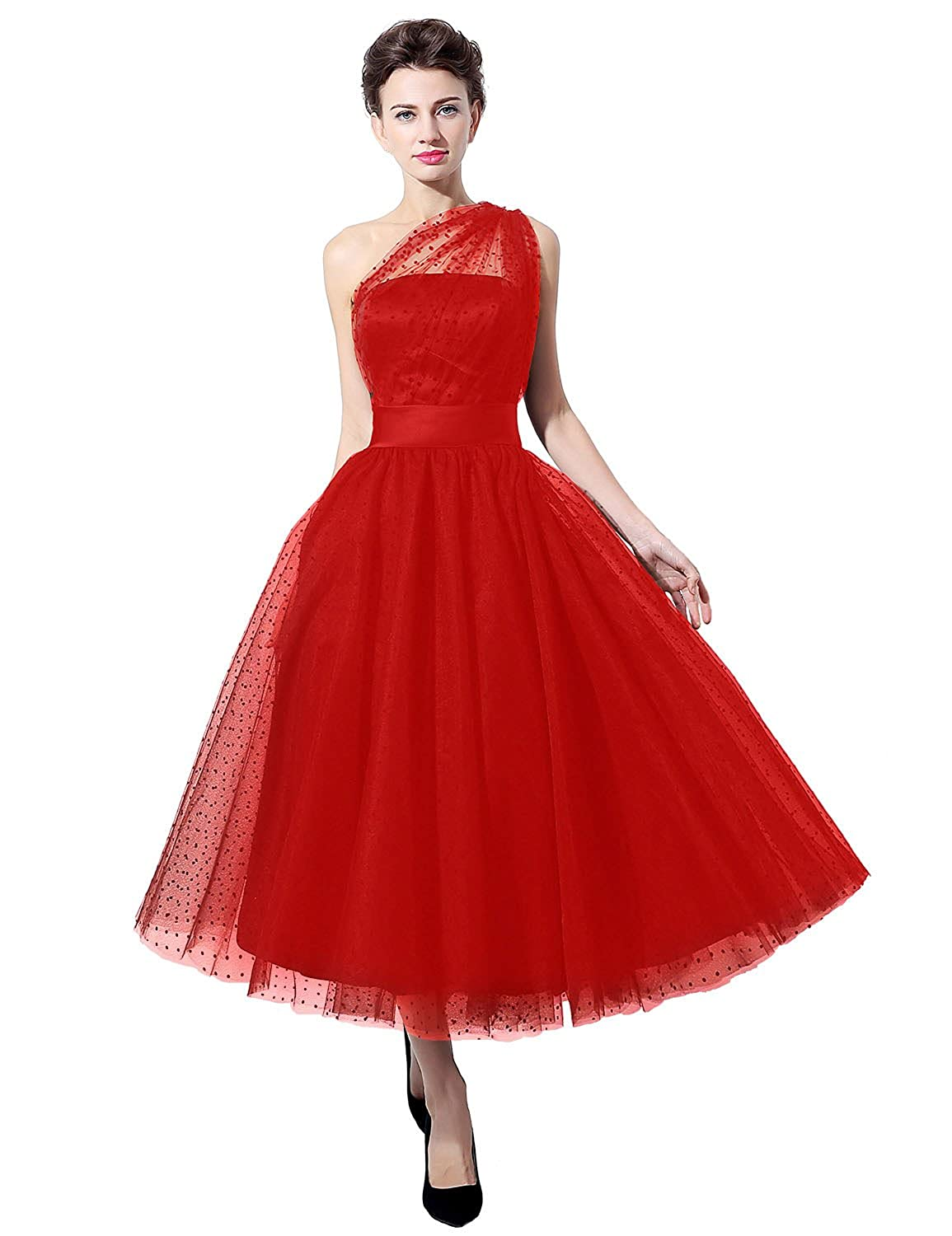 Sarahbridal Vintage Prom Dress Tea Length One Shoulder Bridesmaid SD 337 red uk16